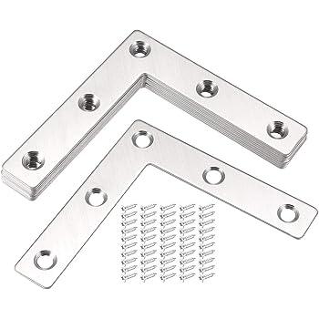 Sourcingmap soporte recto de acero inoxidable soporte de sujeci/ón plana de esquina protector soporte con tornillos para muebles