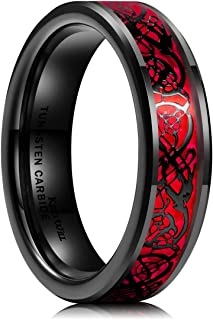 Dragon Men's 8mm Red Carbon Fiber Black Celtic Dragon Tungsten Carbide Ring Comfort Fit Wedding Band