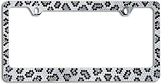 BLVD-LPF OBEY YOUR LUXURY Popular Bling 7 Row Crystal Metal Chrome License Plate Frame with Screw Caps (1, Grey Leopard)