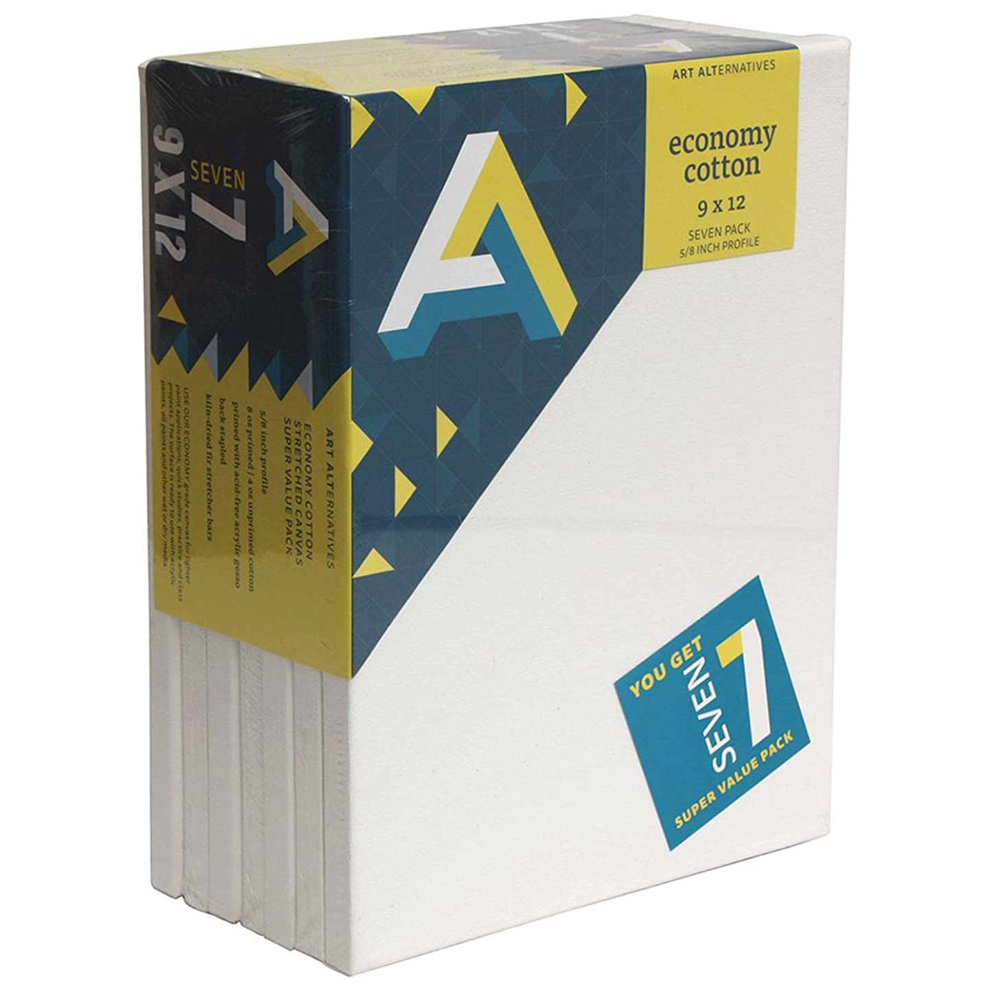 Art Alternatives stretched  White Canvas Super Value Pack-9 x 12 inches-Pack of 7