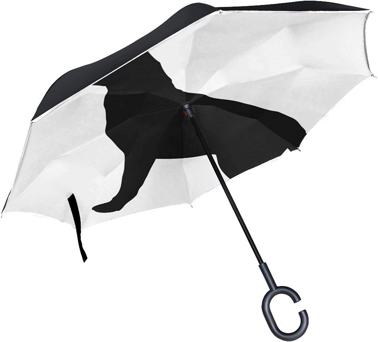 Animal Dog German Shepherd Blackandwhite Black Puppy Animated Sketch Drawing Ingreened Umbrella Large Double Layer Outdoor Rain Sun Car Reversible Umbrella