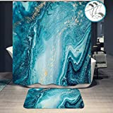 2 Piece Marble Ocean Turquoise Fabric Waterproof Shower Curtain Set and Bath Mats Rugs Bath Ripples of Agate Blue and Gold Powder Design Bath Decor Set (72' x72')