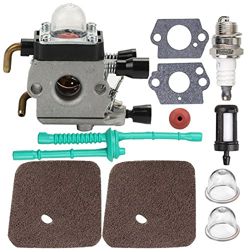 Powtol C1Q-S97 FS55R Carburetor with Air Filter Fuel Line Gasket Spark Plug Kit for Stihl FS38 FS45 FS46 FS55 KM55 HL45 FS45L FS45C FS46C FS55C FS55R FS55RC String Trimmer Weed Eater