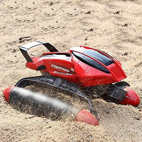 IBalody Wasserdichte RC Auto Design Wasser Und Land Amphibienfernbedienung Gel ewagen Drahtlose Aufladung Fernbedienung Modell Geschenke für Kinder 6+ (Farbe   rot, Größe   1-Battery)
