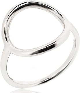 Open Circle Ring for Women 925 Sterling Silver Rhodium Plated - Simple, Stylish &Trendy Nickel Free Ring