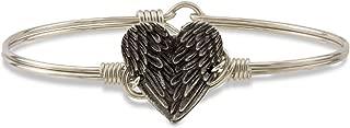 Angel Wing Heart Bangle Bracelet for Women Made in USA