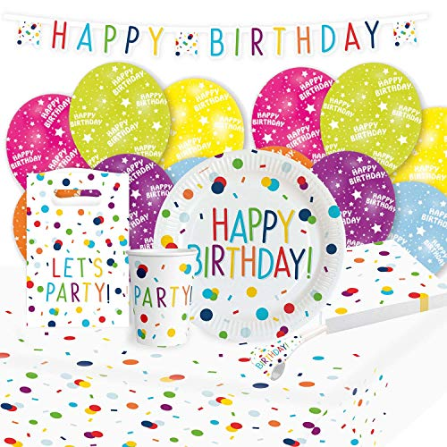 amscan 9907563 - Set de Fiesta de cumpleaños (8 Platos, 8 Vasos, 20 servilletas, Mantel de Papel, Guirnalda, 8 Bolsas de Papel, 6 Globos de látex)