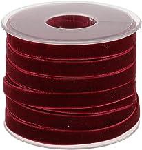 POFET 20 Yard 10mm Breed Fluweel Lint Roll voor Ambachten Decoratie - Wijn Rood