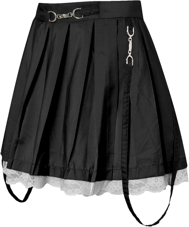 Women's Lace Up Ruffle Patchwork Mini Pleated Skirts Y2K E-Girls High Waist Punk Streetwear Goth Short Skirts