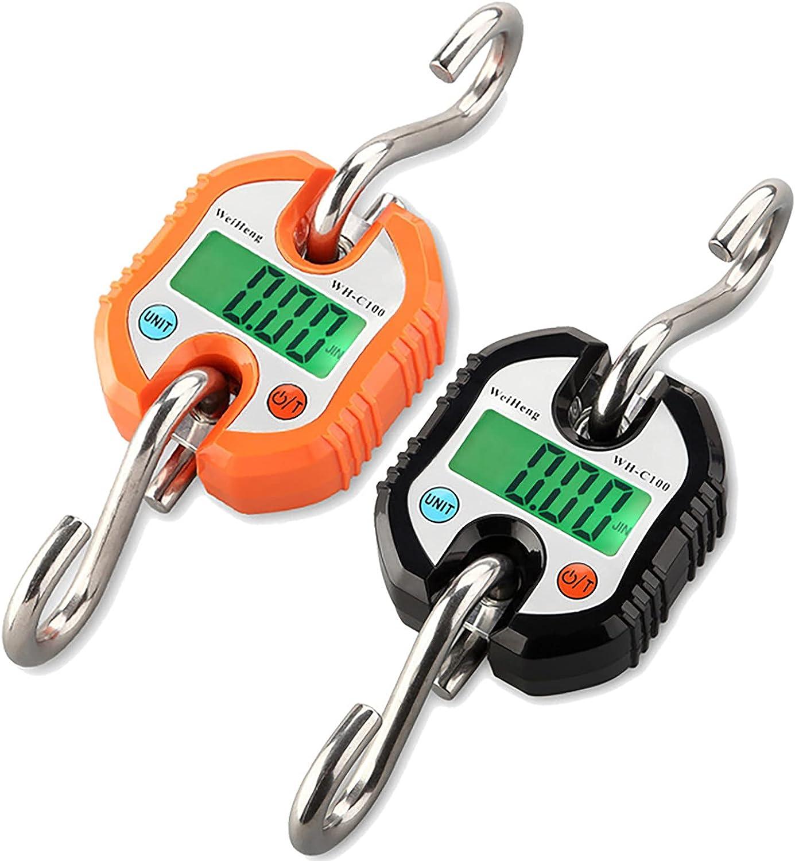 Básculas digitales, Báscula de gancho, Mini báscula portátil para colgar con pantalla LCD, Báscula de carga electrónica Báscula de 150 kg Gancho para colgar Pesadora ( Negro+Naranja)