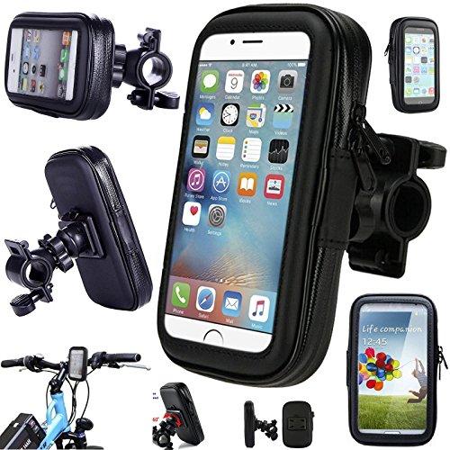 Supporto impermeabile da manubrio per GPS con custodia rigida, compatibile con iPhone 5SE, iPhone 5S, iPhone 5, iPhone 4 e smartphone, supporto da moto e bicicletta con rotazione a 360°
