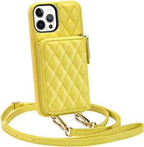 Wallet Case Compatible with iPhone 12 Pro Max, LAMEEKU Crossbody Wallet Case with Wrist Strap Quilted Card Holder for Women Bumper Case Compatible with iPhone 12 Pro Max 6.7