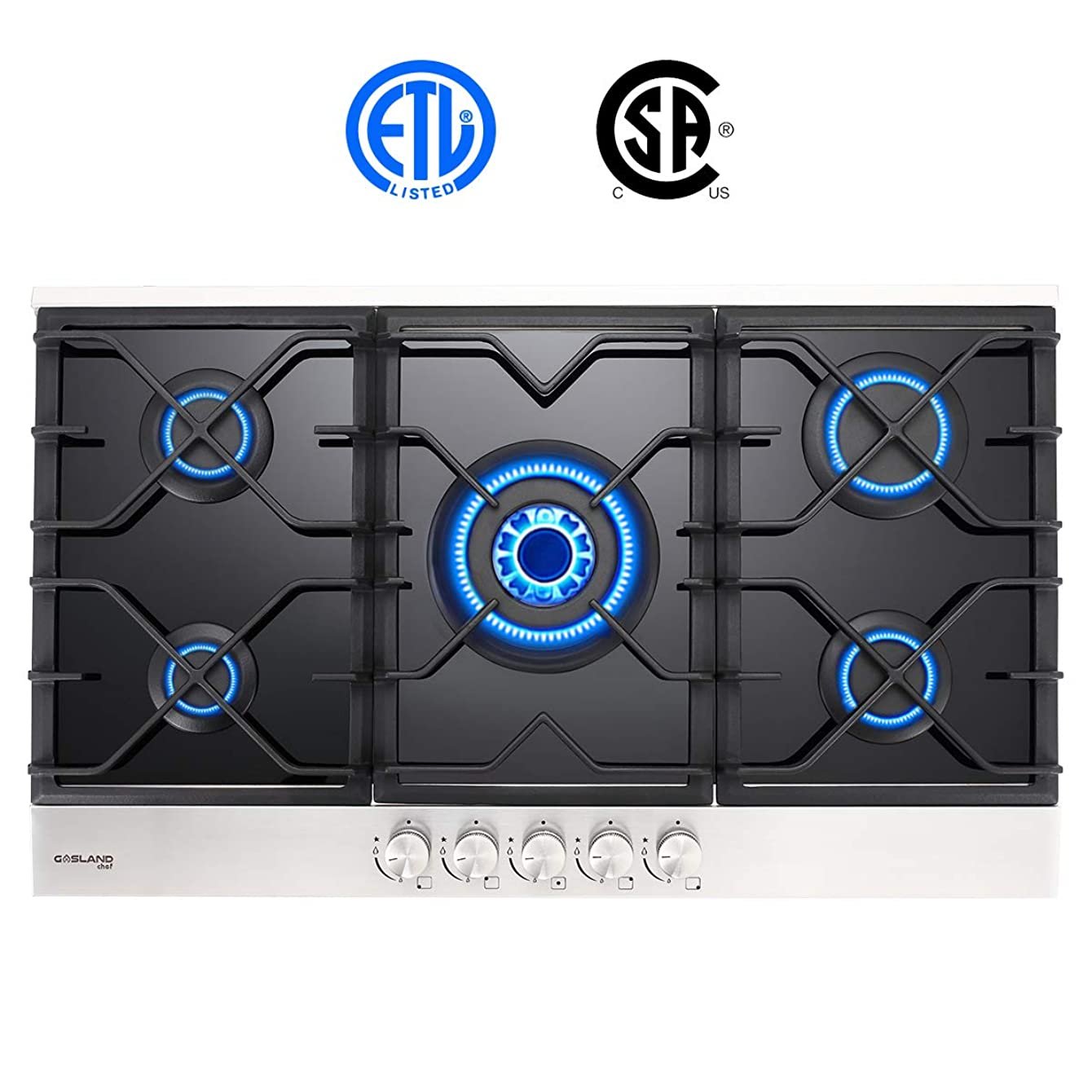 Gas Cooktop, Gasland chef GH90BF 36'' Built-in Gas Stove Top, Tempered Glass LPG Natural Gas Cooktop, Gas Stove Top with 5 Sealed Burners, ETL Safety Certified, Thermocouple Protection & Easy To Clean