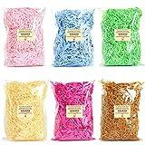 Triturador de papel de rafia multicolor, de 600 gramos, cremoso kraft triturado confeti para rellenar cestas de regalo DIY