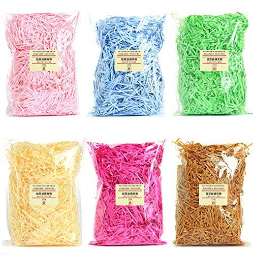 600 gramos de papel de rafia multicolor triturado cremoso Kraft triturado confeti arrugado para rellenar cesta de regalo