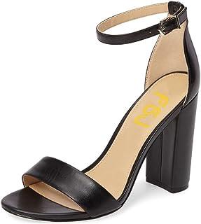 3ec99fc0911 Amazon.com: Black Open Toe Chunky Heel Sandal Heels Patent Faux ...