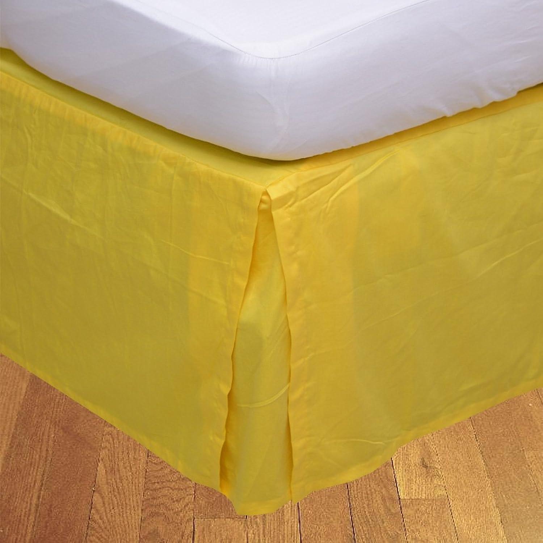 LaxLinens 400 fils cm2, 100%  coton, finition élégante 1pc Split jupe de lit d'angle en forme de goutte Longueur    18 cm de Long, 1 jaune solide