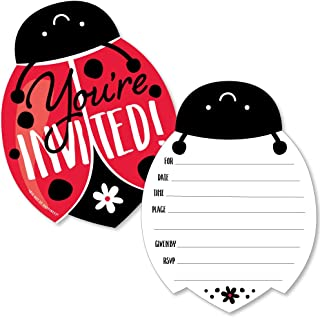 Happy Little Ladybug - Shaped Fill-in Invitations - Baby Shower or Birthday Party Invitation Cards with Envelopes - Set of 12