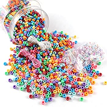 Miss Rabbit 2800pcs 9mm Pony Beads Bulk Rainbow Kandi Beads with Alphabet Beads Wax Cord and Elastic Cord Come with Bucket for Girls Hair Braids Kids Jewelry Bracelet Necklace Making