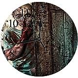 """デジタルall Clocks 12""""、Zomie、Monster ehind The Door Looking Ith Evil Eyes Hell Nightmare Modern Print、Violet Fuchsia"""