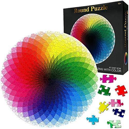 HUADADA Puzzle 1000 Teile ,Puzzle für Erwachsene, Runde Puzzle farbenfrohes Legespiel ,Geschicklichkeitsspiel für die ganze Familie, Regenbogen Puzzle,Erwachsenenpuzzle ab 12 Jahren.