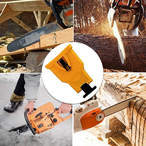 K KERNOWO Chainsaw Sharpener, Chainsaw Teeth Sharpener Fast Sharping Stone Grinder Tools Chain Saw Blade Sharpener Work for 14/16/18/20 Inch Two Holes Chain Saw Bar. (Yellow)