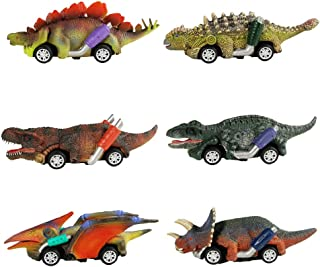 GreenKidz Pull Back Dinosaur Cars Toys 6 Pack Dinosaur Roadster Party Favors Games Dino Toy for 3 Year Olds Boys Kids and Toddlers Monster Race Go-Kart Gifts Birthday Supplies T-rex Velociraptor