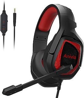 Audífonos para videojuegos Xbox Anivia PS4 con micrófono con cancelación de ruido y graves estéreo para PS3/PS4/PS5 Xbox One Nintendo Switch PC Laptop Tablet Mac – Negro rojo
