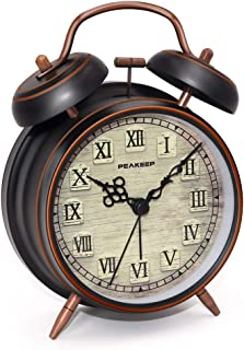 Peakeep Retro 4 inches Battery Operated Twin Bell Loud Alarm Clock (Black with Roman)