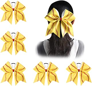 Ncmama Girls Big Yellow Leather Red Glitter Softball Cheer Hair Bow for Dancing Cheerleader pack of 5