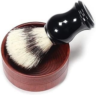 BlueZOO Shaving Cream Brush and Bowl Beard Lather Brush Beard Shaving Soap Bowl Boar Bristles Hair Brush Natural Crude Wood Cream Bowl for Men Traditional Wet Shaving Kit