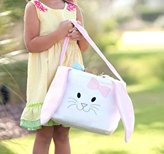 Personalized Easter Basket for Kids, embroidered Pink Girls and Boys Toddler gift bags baby blue green