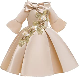 iLOOSKR Floral Girl Kids Girls Princess Pageant Gown Birthday Party Wedding Dress