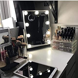 Hansong Hollywood Vanity Makeup Lighted Mirror, Girls Beauty Professional Smart Mirror,3 Color Lighting Modes, Children Small Cosmetic Standing Mirror with 9 Dimmable Bulbs for Dressing Desk