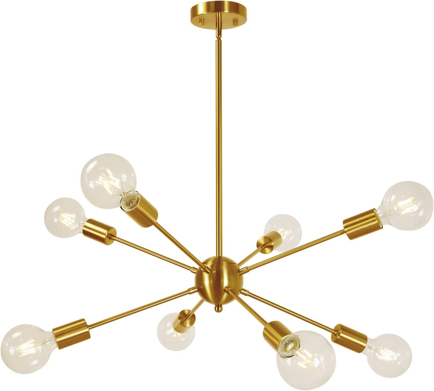 Sputnik Chandelier 8-Lights Brass Modern Pendant Lighting Mid Century Chandelier Semi Flush Mount Ceiling Light for Bedroom Living Foyer UL Listed