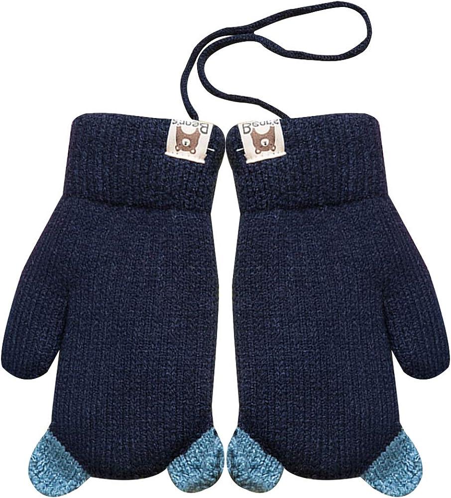 Child Cute Cartoon Knit Mittens Winter Warm Plush Lined Hand Warmer Full Finger Ski Gloves