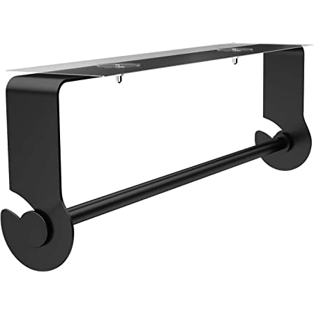 SMARTAKE Paper Towel Holder with Adhesive Under Cabinet, Wall Mounted & No Drilling, Rustproof Removable Kitchen Towel Holder for Home, Easy Tear, Black