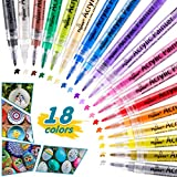 Bamoer Acrylic Paint Pens, 18 Color 0.7mm Fine Tip Acrylic Paint Marker for Rock Painting, Fabric, Wood, Ceramic, Water Based, Quick-Dry
