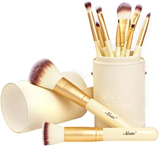 Matto Makeup Brushes 10-Piece Golden Makeup Brush Set with Foundation Powder Mineral Eye Face Make Up Brushes Holder