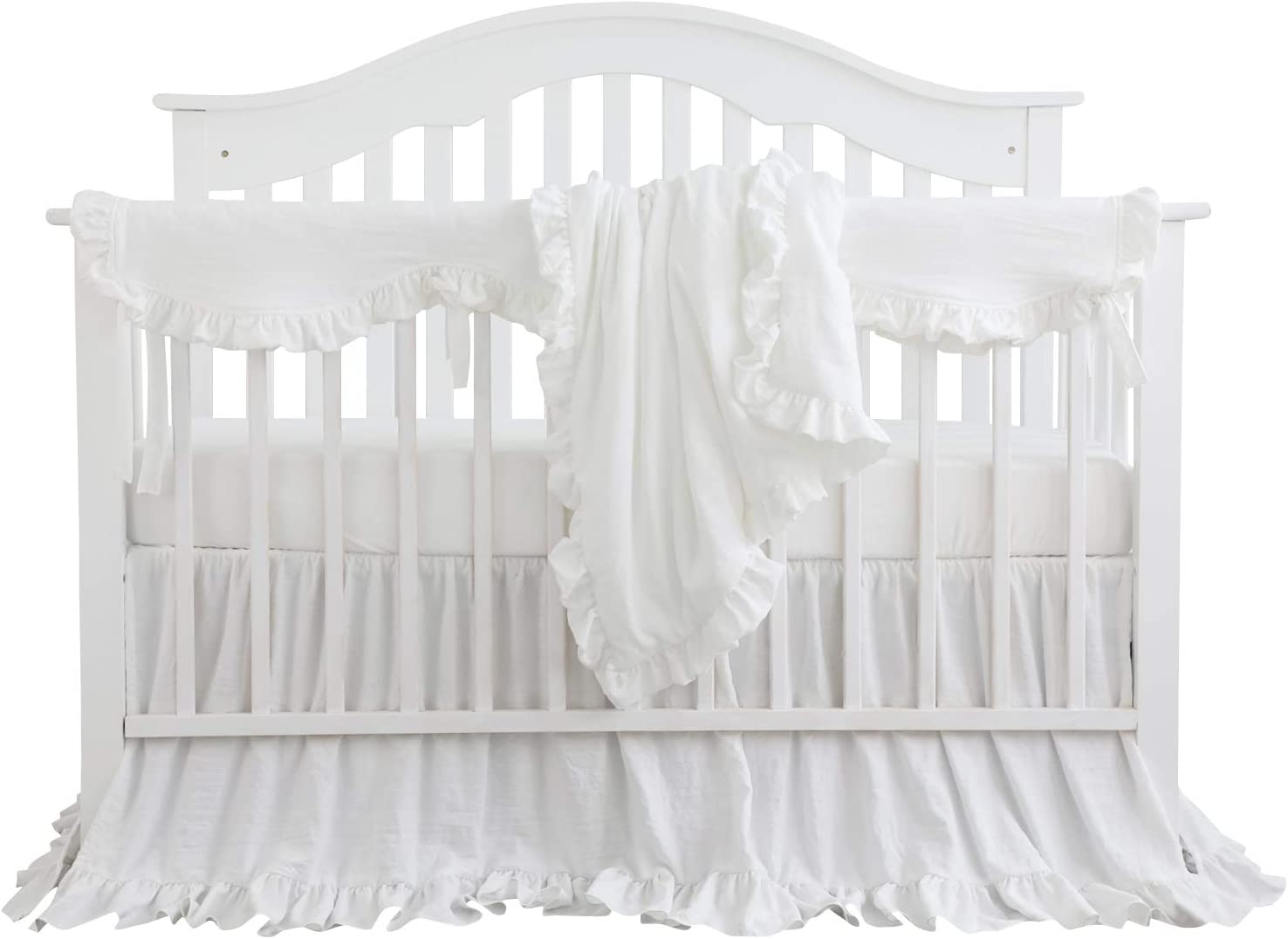 Blush Coral Pink Special Campaign Ruffle overseas Crib Girl Blank Baby Set Bedding