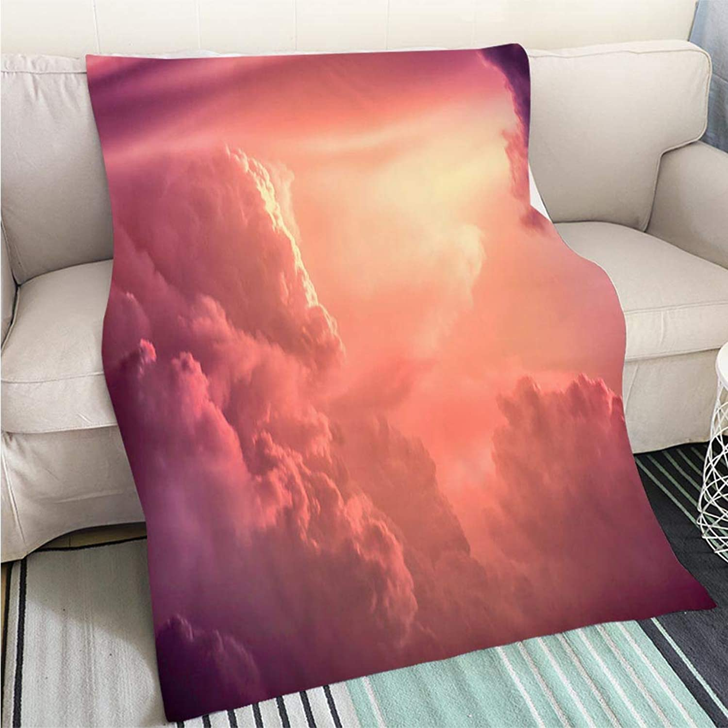 BEICICI Art Design Photos Cool Quilt color Toned Image Dramatic Sunset Sky with colorful Clouds Fashion Ultra Cozy Flannel Blanket