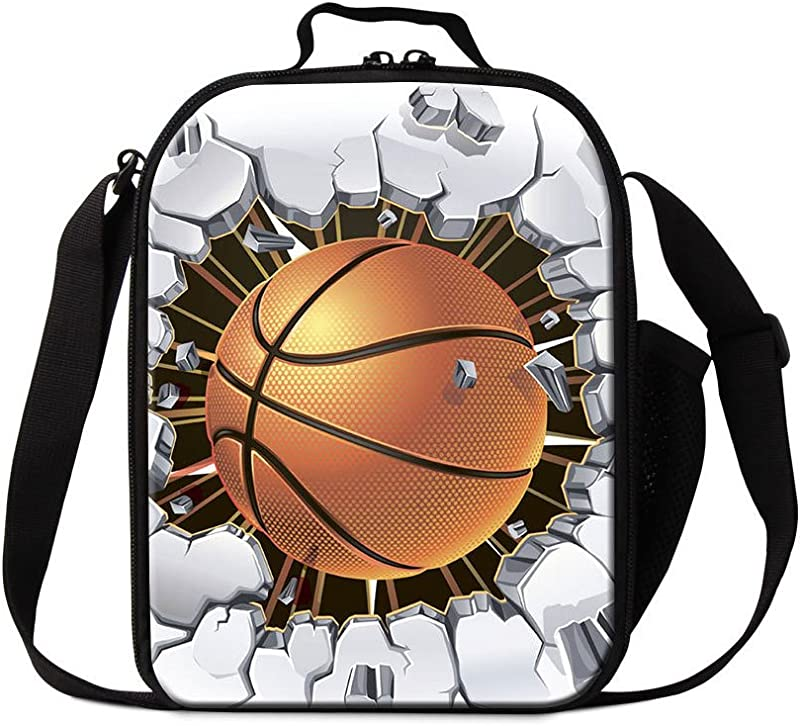 Dispalang Basketball School Lunch Bag For Boys Cool Thermal Lunch Container Insulated Cooler Bag