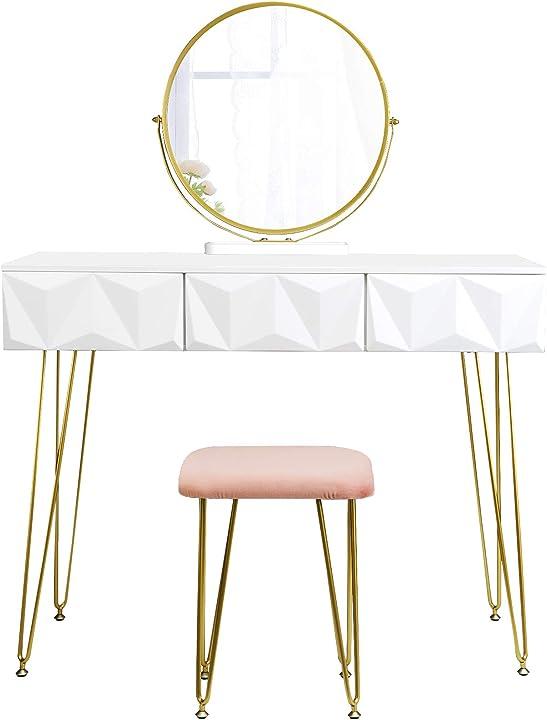 Toeletta da trucco con sgabello tavolo cosmetici con specchiera girevole a 360° eugad B08BTY4V2L