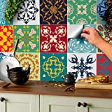 24x Color de la mezcla Lámina impresa 2d PEGATINAS lisas para pegar sobre azulejos cuadrados de...