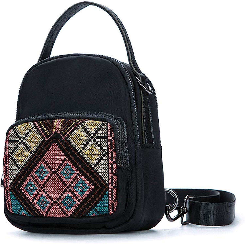 SLH National Style Embroidery Art Mini Small Shoulder Bag Female Shoulder Bag Slung Chest Bag (color   Black, Size   19  15  12cm)
