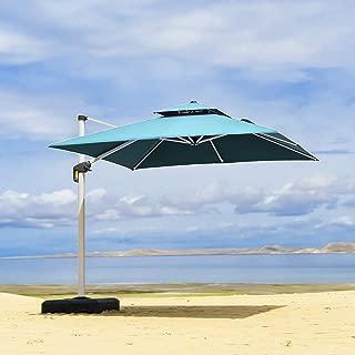 PURPLE LEAF 10 Feet Double Top Deluxe Square Patio Umbrella Offset Hanging Umbrella Cantilever Umbrella Outdoor Market Umbrella Garden Umbrella, Turquoise Blue