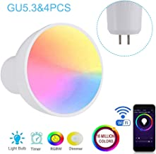 Lossky GU10/E27/GU5.3 WiFi Intelligent Light Bulb RGBW 6W LEDs Dimmable Lamp Cup Compatible with-Alexa&Google-Home Remote