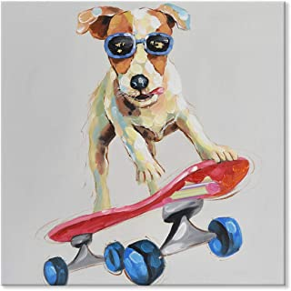 SEVEN WALL ARTS - Modern Animal Funny Dog Painting Abstract Colorful Dog Plays Skateboard Downhill Skiing Artwork for Kids Friends Home Decoration 24 x 24 Inch