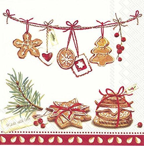 COOKIES, MADE MET LIEFDE rode kerst koekjes en decoraties Kerstmis Luncheon Papier Tafelservetten 20 in een verpakking 33cm vierkant