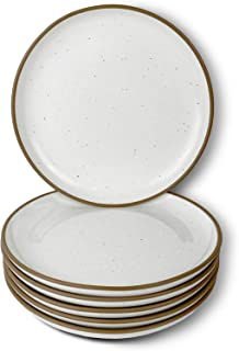 Mora Ceramic Plates Set, 7.8 in - Set of 6 - The Dessert, Salad, Appetizer, Small Dinner etc Plate. Microwave, Oven, and D...